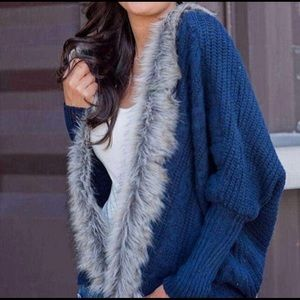 Anthropologie Navy Faux Fur Open Front Sweater